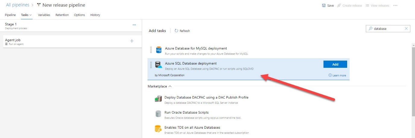 The 'Azure SQL Database deployment' section of Azure DevOps highlighted, in the 'New release pipeline' section.
