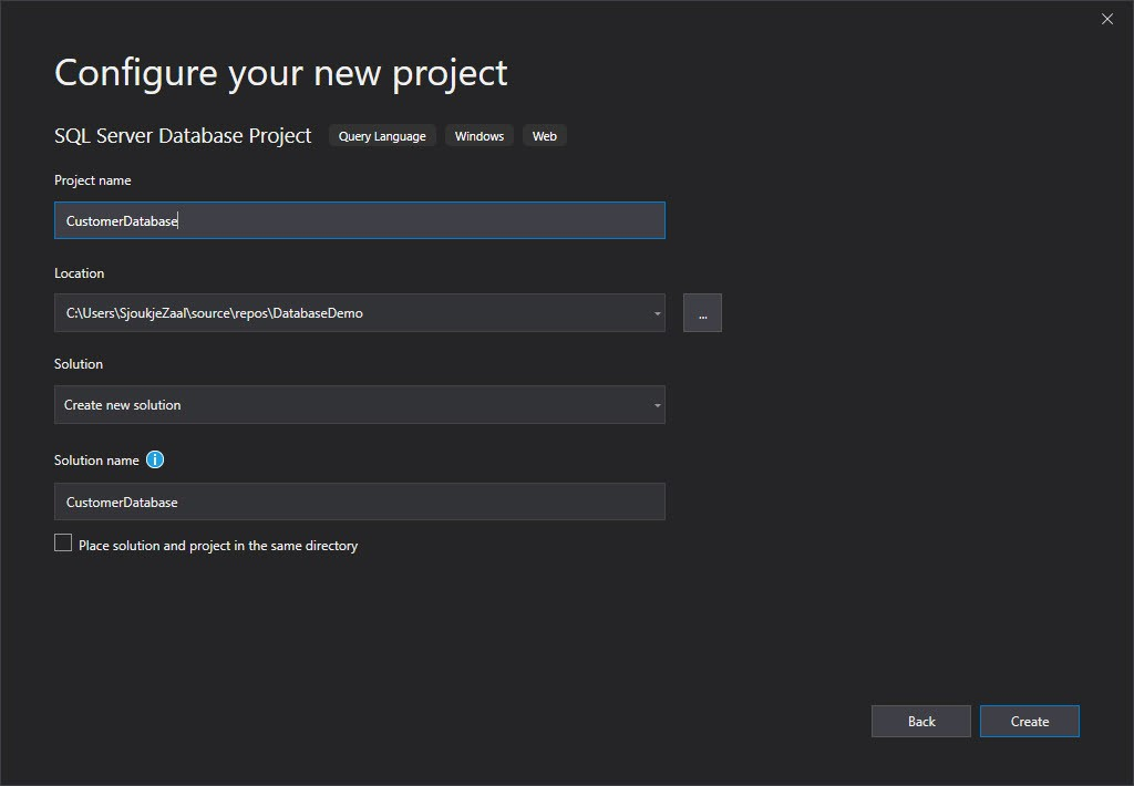 A screenshot showing the 'Configure your new project' dialogue when creating a new SQL Server Database Project.