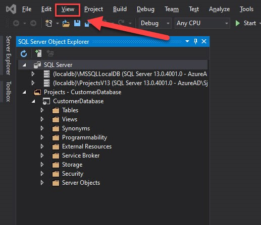 The View menu highlighted in Visual Studio.