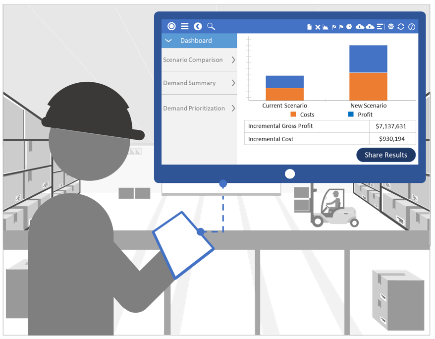 Manufacturing dashboard on desktop