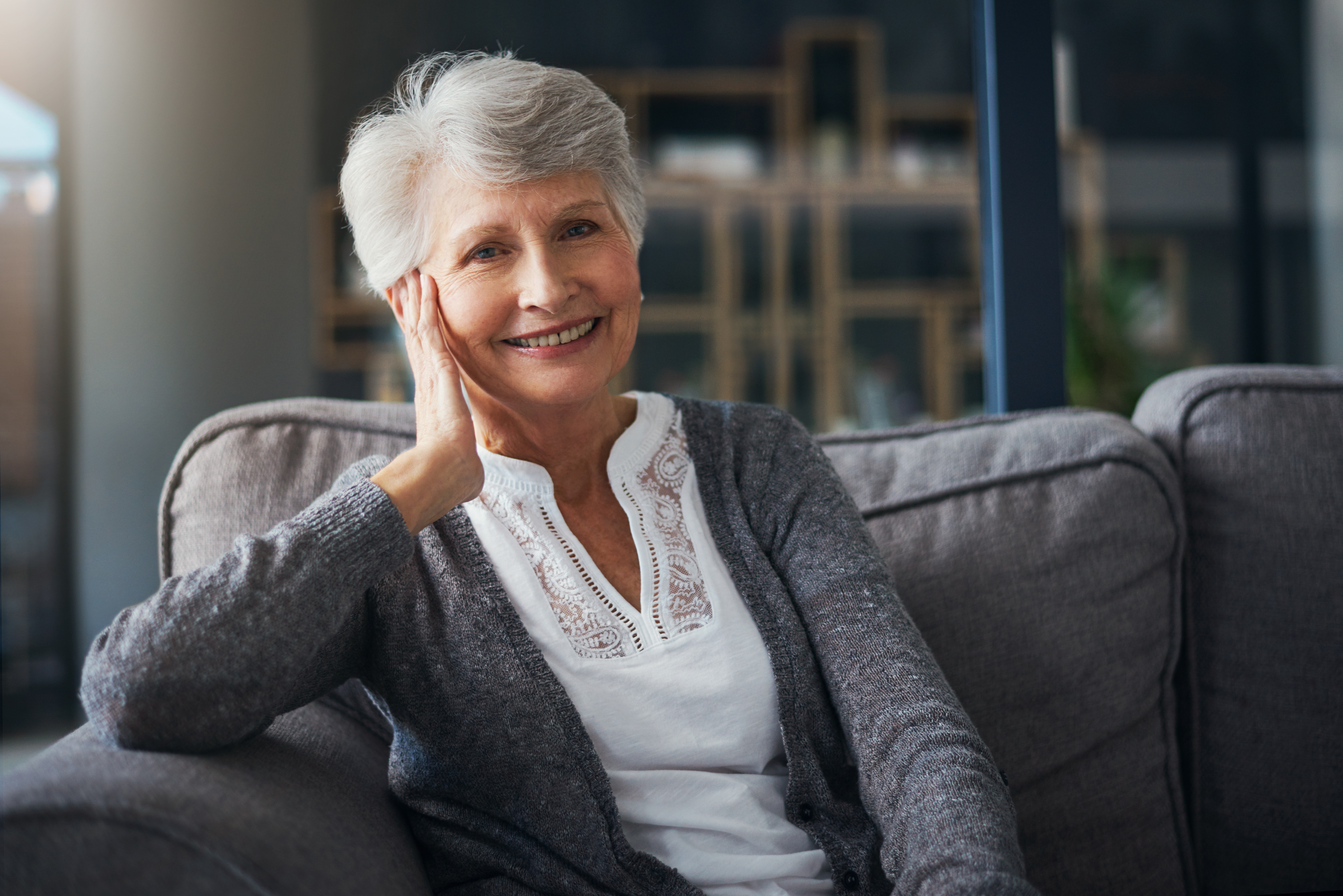 Portrait of a senior woman relaxing on the sofa