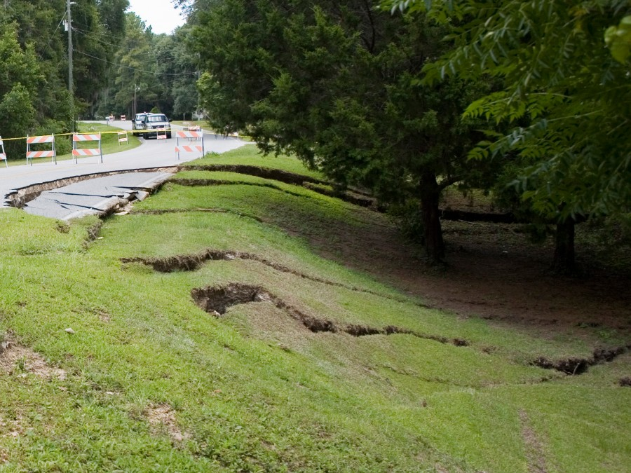 Image of a sinkhole near a road