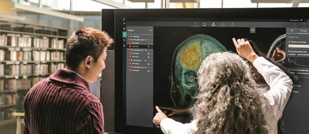A patient and a doctor examining a neuro scan on a large computer monitor