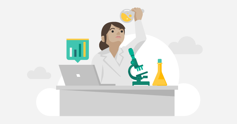 researcher looking at a lab results