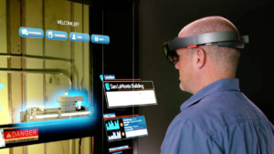 Man using Hololens to view information