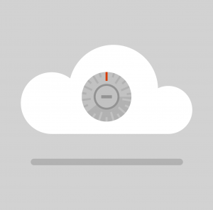 Illustration conveying the protection of the cloud