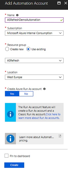 A screenshot showing that an Automation account is being added.
