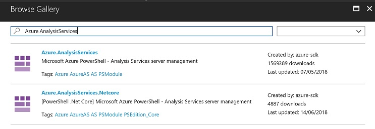 A screenshot showing the Azure.AnalysisServices module in a list of other modules.