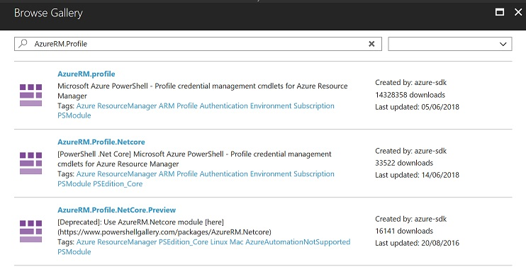 A screenshot showing the Azure moduleRM.profile module in a list of other modules.