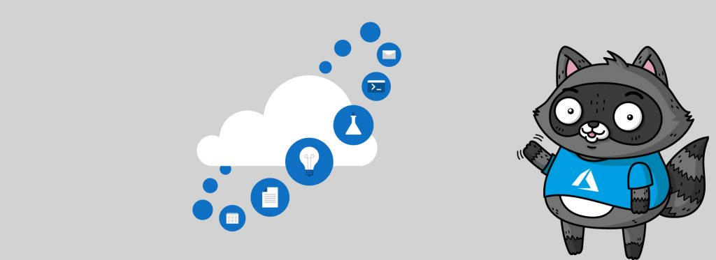 An image of a cloud, surrounded by images of different cloud services, with a picture of Bit the Raccoon to the right.