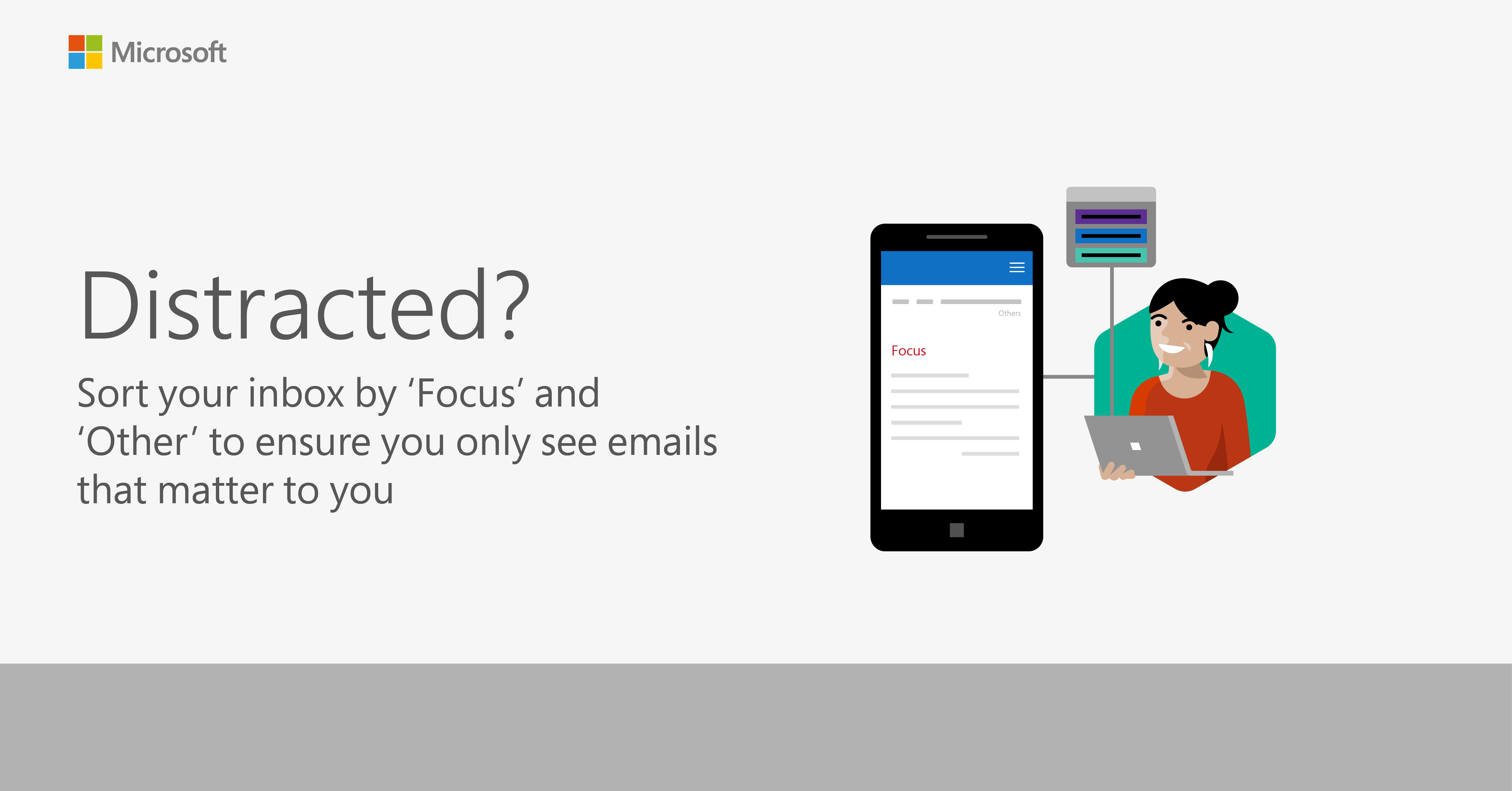 Graphic showing a tip to sort your inbox by focus and other to ensure you only see emails that matter to you