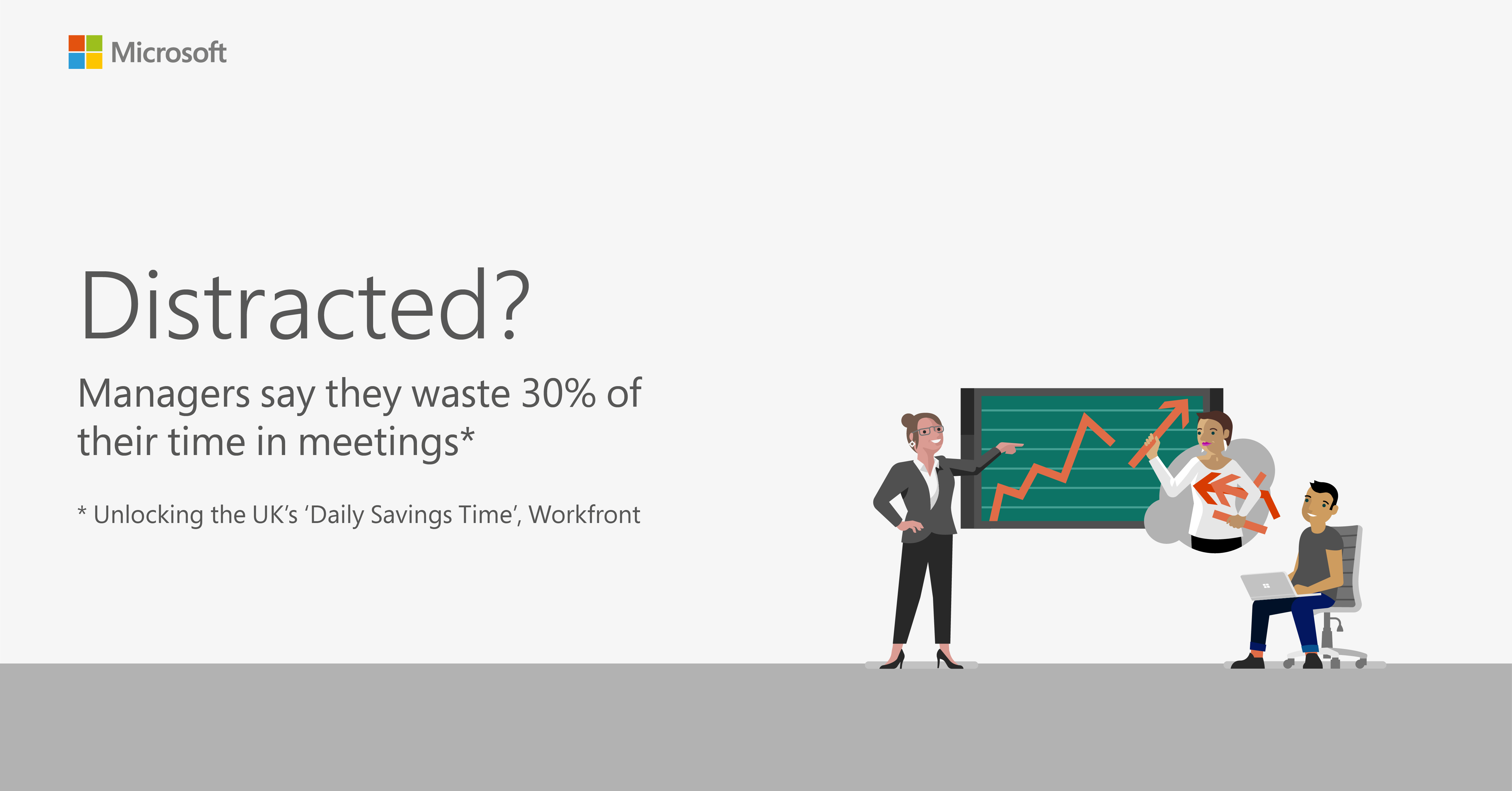 Graphic showing managers waste 30% of their time in meetings
