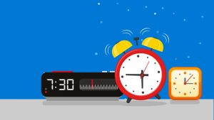 Illustration of a digital clock, an old-fashioned alarm clock, and a square clock