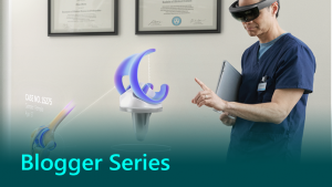 Blogger series thumbnail showing a doctor using HoloLens.