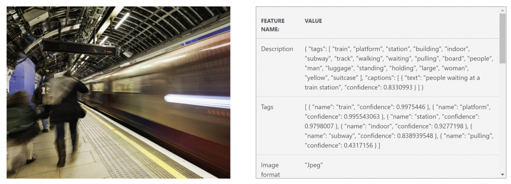 Screenshot showing Computer Vision in action, translating an image of a man standing on a train platform and labelling the content with relevant tags, such as 'train', 'platform'