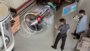 Two coworkers using mixed reality and AI to perform analysis on jet engines