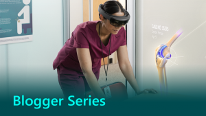 Blogger series graphic showing a doctor in HoloLens.