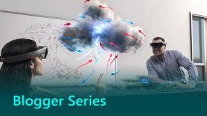 Blogger series graphic showing a person using HoloLens.