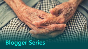Blogger series graphic showing an older person.