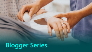 Blogger series thumbnail showing a doctor wrapping patient's wrist in a bandage.
