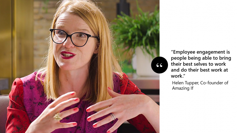 """Photo of Helen Tupper, Co-founder of Amazing If with the following quote overlayed: """"Employee engagement is people being able to bring their best selves to work and do their best work at work."""""""