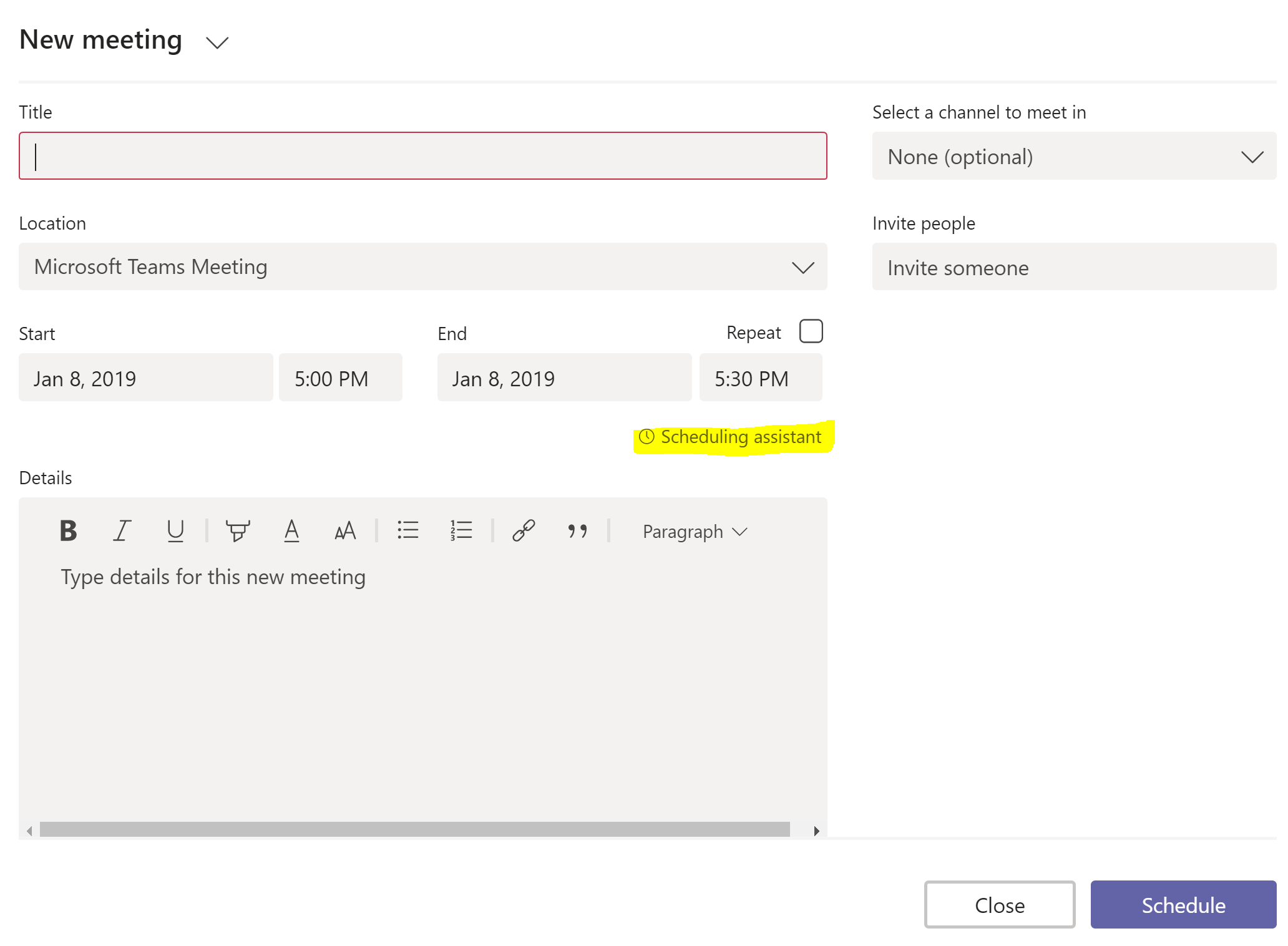 Screenshot showing the scheduling assistant in Microsoft Teams