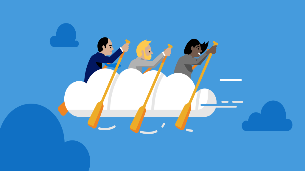Illustration metaphor for teamwork, productivity, and collaboration in the cloud