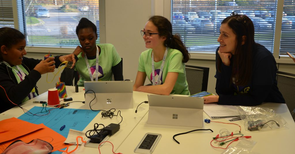 Cindy Rose chats with school girls at DigiGirlz