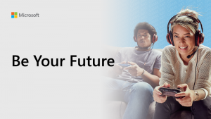 Be Your Future blogging series thumbnail showing two people playing on a games console.