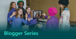 Blogger Series thumbnail showing a group of young girls using technology for a school project.