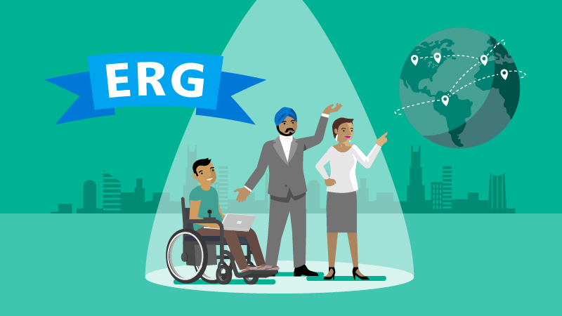 Illustration showing a diverse group of people united through an employee resource group to create an inclusive workplace and society