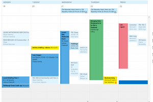 An example of a colour coded calendar in Outlook