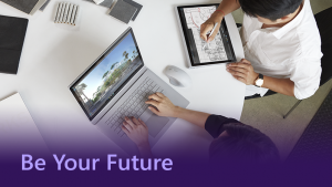 Be Your Future thumbnail showing two people working on their devices