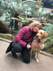 Jo-Ann Moran, Disability Workplace Adjustments, Diversity and Inclusion Team, Human Resources, Home Office and her dual-purpose assistance dog, Ike.