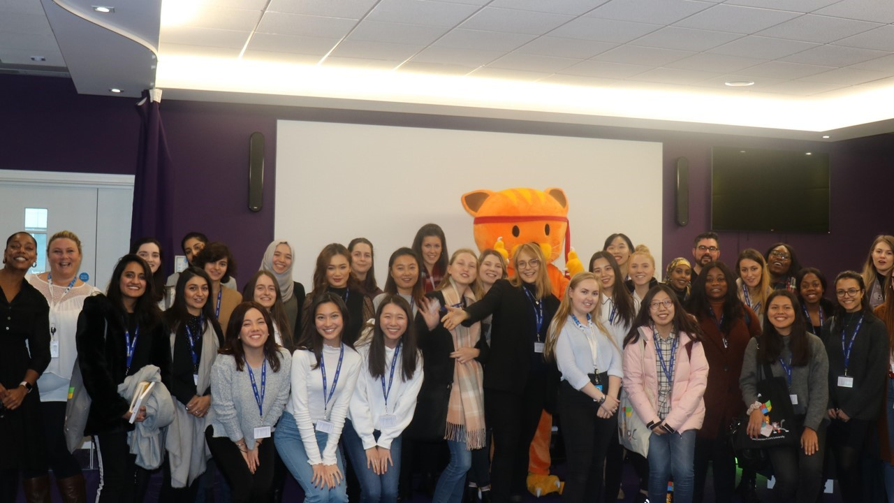 Photo of a group of young women at the Women in Tech Day