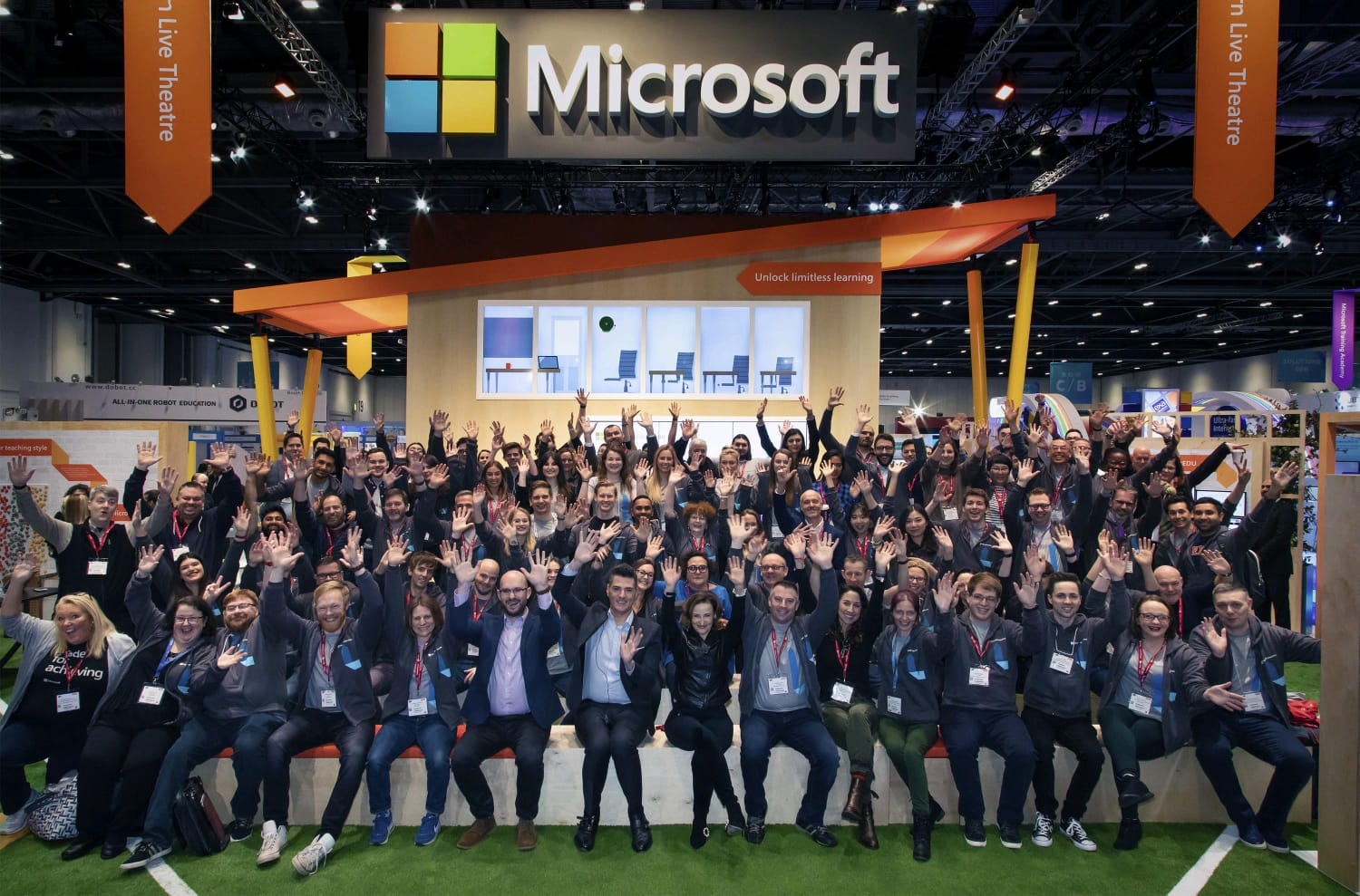 Image of a large group of people on the Microsoft stand at Bett