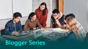 Microsoft Blogger Series Banner showing a group of people working together as a team