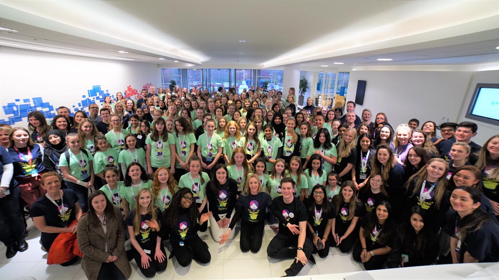 Image of a large group of people at the DigiGirlz event to encourage young girls to pursue STEM careers.