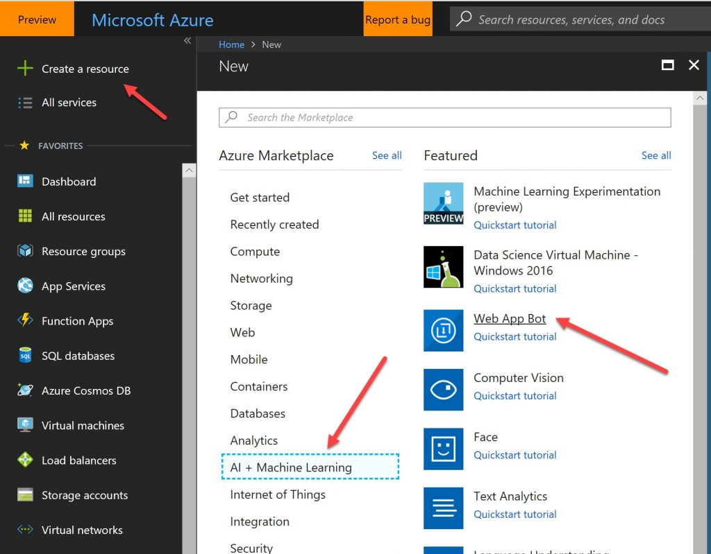 A screenshot of the Create a Resource menu in Microsoft Azure, with arrows pointing to the Web App Bot option.