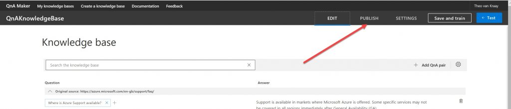 A screenshot highlighting the location of the Publish option for the Knowledge Base.