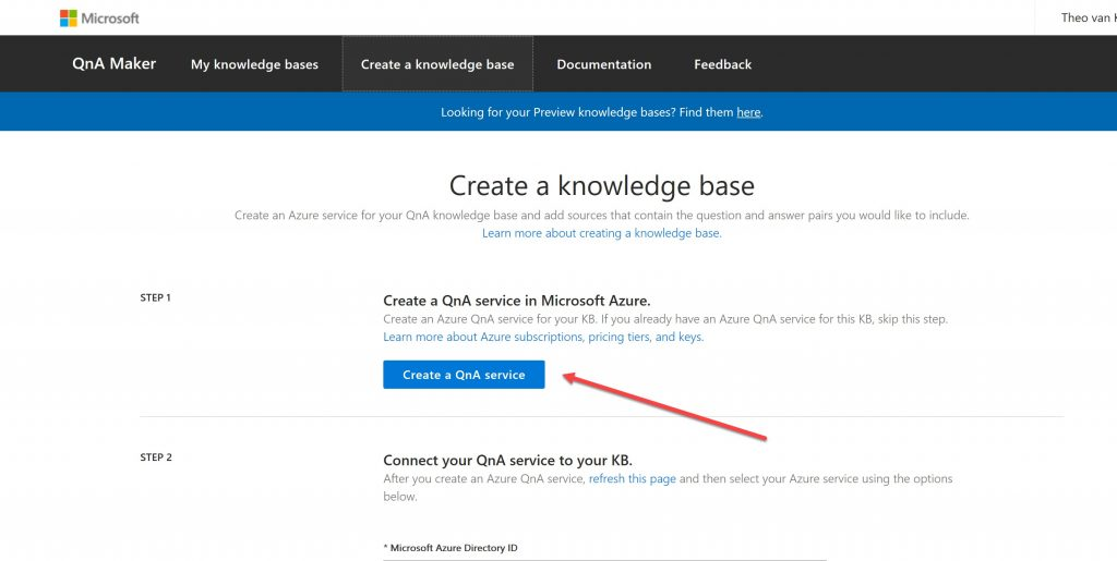A screenshot showing where the 'Create a QnA Service' button is on the 'Create a knowledge base' section of the QnA website.