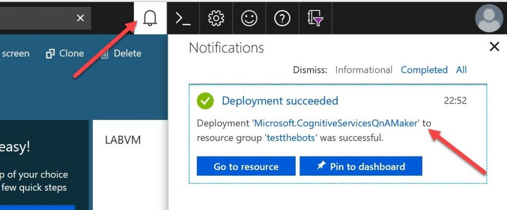 A notification in the Azure Portal that confirms the deployment has succeeded.