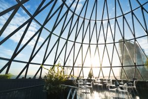 Photo presenting top floor of the Gherkin building in the UK.
