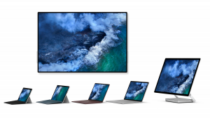The Surface for Business portfolio; Surface Go, Surface Pro 6, Surface Laptop 2, Surface Book 2, Surface Studio 2 and Surface Hub 2S