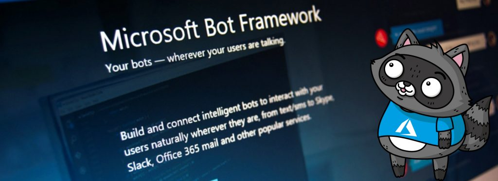 A photo of the Microsoft Bot Framework website, with a picture of Bit the Raccoon standing on the right.