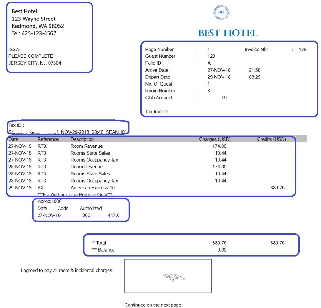 A mock invoice, with different areas of information that need processing highlighted.