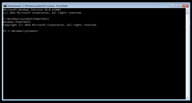 A new Command Line window, with PowerShell enabled.