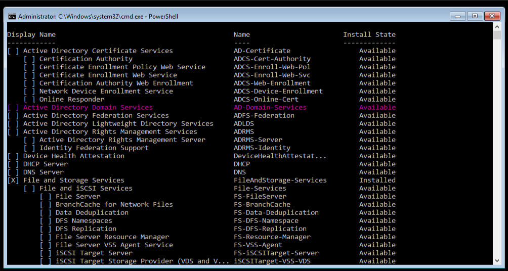 The Command Line showing Active Directory Domain Services, highlighted in pink.