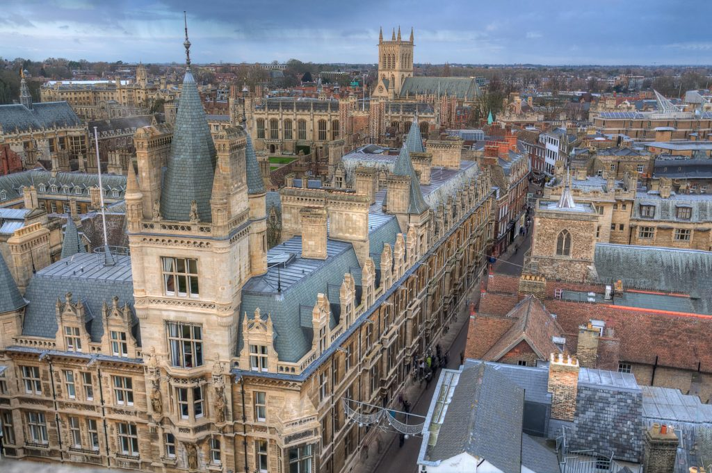 An aerial view of St. John's College in Cambridge, England.