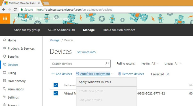 Autopilot deployment highlighted on a screenshot of Microsoft Store for Business
